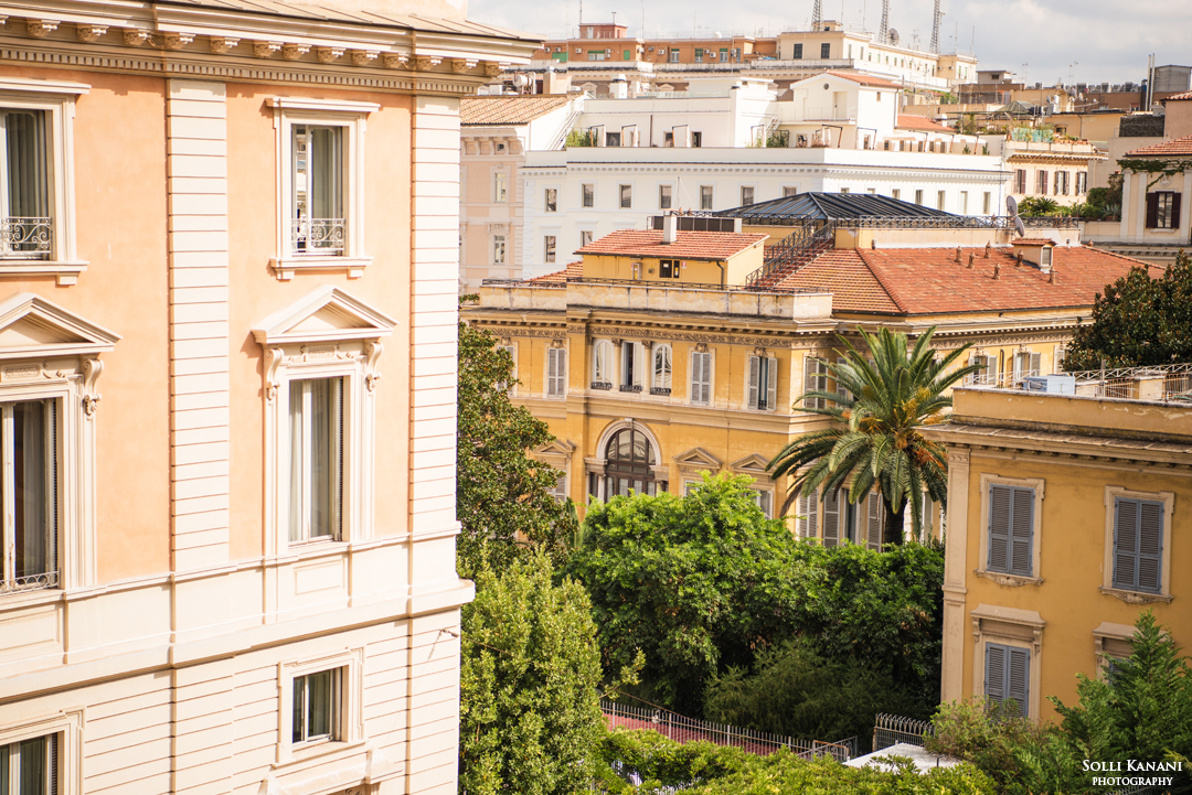 The stunning view from my window at Villa Spalletti Trivelli in Rome