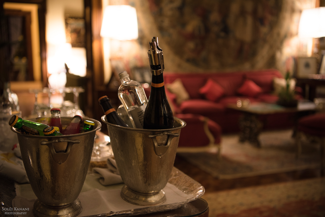 The honor bar in Sala degli Arazzi - complimentary bar in the living room
