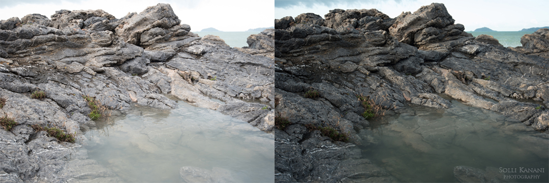 Straight out of the camera, from left: without polarizer right: NiSi Landscape Polarizer. As you can see, thanks to the polarizer filter the reflection on the surface of the water has been reduced remarkably, there is also an increased contrast and the colors are more vivid.