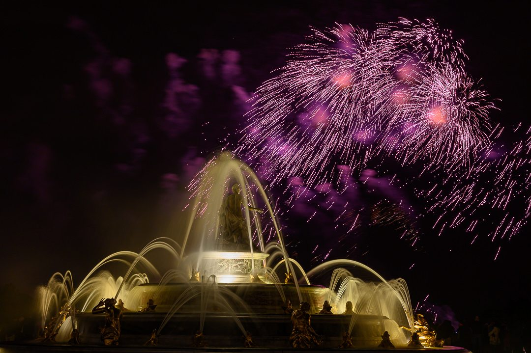Latonas Fountain and sparkling fireworks